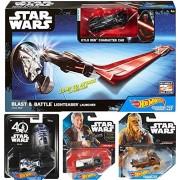 Hot Wheels Dark Side Star Wars Lightsaber Blast & Battle Kylo Ren Vehicle + Force Awakens Han Solo / Chewbacca & R2-D2 40th Anniversary Character
