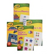 Crayola Early Learning Flash Cards Set Of 4 Packs 144 Flash Cards; Numbers, Colors, Phonics, And Matching