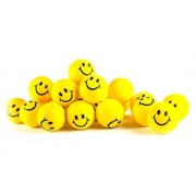 """Why Worry? Be Happy! Neon Yellow Smile Funny Face Stress Ball - Happy Smiley Face Stress Balls Bulk Pack of 24 Relaxable 2"""" Stress Relief Smile Squeeze Balls Fun Toys Christmas Stocking Stuffer"""