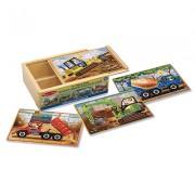 Set 4 puzzle lemn in cutie Vehicule pentru constructii