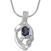 Surat Diamond Sparks of Passion 925 Silver Real Blue Oval Sapphire Pendant with 18 Chain SDP214