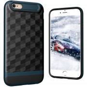 Louiwill Estuche KOBWA Para IPhone 6 Plus, Estuche Para IPhone 6S Plus, 2 En 1 Estuche Para IPhone 4 Soft Soft Rhombus Drawing TPU + PC, Estuche Antideslizante Antideslizante Para Cuerpo Entero Y Antideslizante Para Apple IPhone 6 Plus / 6S Plus -Navy