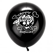 Pirate Party Balloons - 8 Pirate Party Balloons. Latex with printed design. 4 asst colours. Size 30cm.