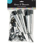 Classic Black and White Birthday Party Horns and Blowouts Pack of 50 Multi 15 x 9 3/8 (Pkg. Size) Plastic