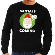Shoppartners Foute kersttrui Santa is coming zwart voor heren