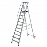 Günzburger Steigtechnik Günzburger Aluminium-Stehleiter mit Rollen und Griff 10 Stufen