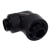 Fiting compresie 90 grade Alphacool Eiszapfen 16/10mm - filet exterior G1/4 rotativ - Deep Black