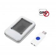 EY Mini Coche Del Aislador De Señal GPS Portátil Jammer Vehículo Plug & Play-Azul Y Blanco