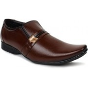 Shoe Island ® Premium Class Designer Leatherette Coffee Brown Slip-On Buckle Party Formal Shoes Slip On For Men(Brown)
