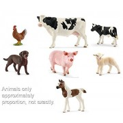Schleich World of Nature Farm Animals Series 2 with Pig, Holstein Cow and Calf, Hen, Pintabian Foal, Chocolate Labrador Puppy and Lamb All in a Gift Bag!