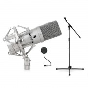Auna DJ PA Studio- & Bühnen, микрофонен комплект, стойка, микрофон и pop filter (PL-6515-7884-6237)