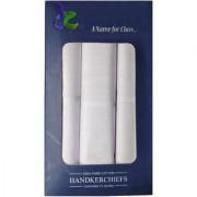 Utkarsh Kunal's Set of 3 Pcs Premium Quality Men's/ Boy's Pure Cotton White Color Hankies/ Hanky/ Handkerchief