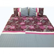 Imaginations By Kuntal'S Maroon Floral With Grey Stripe Bedsheet Set