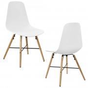 Елегантен стол Eindhoven комплект от 2 броя, дървени крака 85,5 x 46 cm Бял