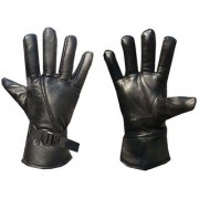 Leather Gloves Mens / Womens Classy Riding Gloves Protective Winter Gloves (BLACK)