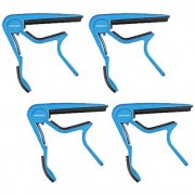 Neewer 4 Pack Single Handed Zinc Alloy Guitar Capo Quick Change for Acoustic 6-String and Electric Guitars(Blue)