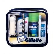 Gillette Mach3 Travel Kit sada holicí strojek s jednou hlavicí 1 ks + pěna na holení 75 ml + balzám po holení 75 ml + šampon 90 ml + zubní pasta 15 ml + zubní kartáček 1 ks pro muže