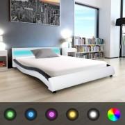 vidaXL 140x200 cm fekete és fehér LED-es műbőr ágy keret
