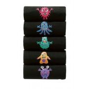 Mens Next Black Monster Embroidery Socks Five Pack - Black