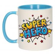 Bellatio Decorations Super hero cadeau mok / beker wit en blauw met sterren 300 ml
