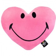 Smiley World Heart Shaped Soft Cushion 12 Inches Pink by Ultra