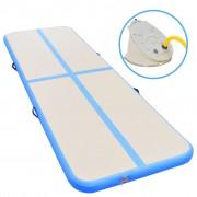 vidaXL Надуваем дюшек за гимнастика с помпа, 300x100x10 см, PVC, син