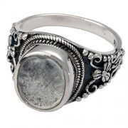 Memorial Gallery 2004Bs-12 Antique Sterling Silver Ring with Clear Glass Front Cremation Pet Jewelry, Size 12