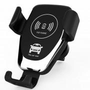 Suport telefon pentru auto cu incarcare wireless QI, Negru