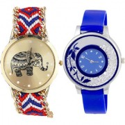 Neutron Brand New Formal Elephant And Flower Analogue Multi Color And Blue Color Girls And Women Watch - G158-G87 (Combo Of 2 )