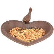 Szív alakú öntöttvas madáretető/-itató/-fürdető FB362
