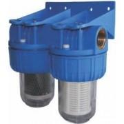 """Filtre de apa TITAN 2 x 5"""" cu ½"""" in linie pentru filtrare mecanica cu cartuse filtrante - nylon + carbune activ"""
