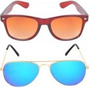 Aligatorr Wayfarer, Aviator Sunglasses(Golden, Blue)