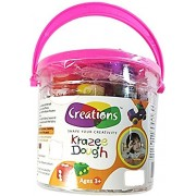 Dms Retail Fun play dough clay Bucket with 24 clays-3 Moulds 1 Roller and 1 cutter -Pack of 3 buckets-for kids
