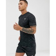 New Balance running accelerate camo print t-shirt in black