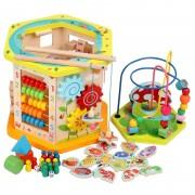 Centru de joaca multifunctional din lemn cu 9 activitati