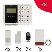 KIT S8 M2C Antifurto Allarme Casa LKM Security Kit Wireless Senza Fili Controllabile da Cellulare con App Gratuita. Menù con Sintesi Vocale in Italiano e Manuale in Italiano Colore Bianco