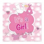 Servetten geboorte meisje luxe - Roze en wit
