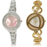 The Shopoholic Pink Silver Combo Treny and Precious Pink And Silver Dial Analog Watch For Girls Women'S Casual Watches