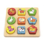 Shape Block Puzzle / Color and Shape Sorter - Farm Animals