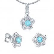 Silvego Stříbrný set květina s modrým zirkonem - náušnice a přívěsek - JJJS0404