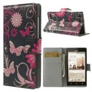 B2Ctelecom Huawei Ascend G6 Wallet Stand Case Butterfly Flower