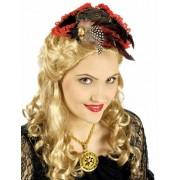 Mini sombrero pirata rojo y negro lujo mujer Única
