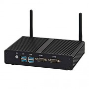 HUNSN Fanless Industrial Mini PC,Desktop Computer,with Windows 10 Pro/Linux Ubuntu Support,Intel Core I3 4030U,(Black), BM15,[VGA/HDMI/2LAN/2COM/4USB3.0/WiFi],(4G RAM/128G SSD/1TB HDD)