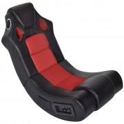 vidaXL Scaun balansoar muzical, negru și roșu, piele ecologică