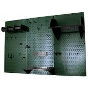 Wall Control 30-WRK-400 GNB Pegboard Organizer 4' Metal Standard Tool Storage Kit with Green Tool Board and Black Accessories