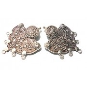 Goelx Antique Silver Designer Flower Pendant for Necklace Making, Pack of 2 - Design 20