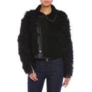 【75%OFF】シープレザー×レザー ジャケット ブラック 36 ファッション > レディースウエア~~ジャケット