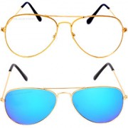 Aligatorr Combo Of 2 Aviator Unisex Sunglasses gold wtgblCRLK