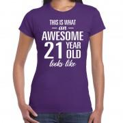 Bellatio Decorations Awesome 21 year / verjaardag cadeau t-shirt paars voor dames XS - Feestshirts