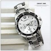 Rosara Round Dial Silver Metal Strap Quartz Watch for Men 6 MONTH WARRANTY